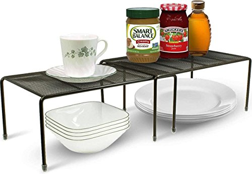 Indian Decor 'Black' Expandable Stackable Kitchen Cabinet and Counter Shelf Organizer/Kitchen Shelf/Kitchen Organizer/Multipurpose Shelf - Black