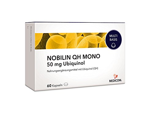 NOBILIN UBIQUINOL Q10 50 mg - 60 Kapseln, 2-Monatsvorrat, Coenzym Q10 sofort verfügbar – Kaneka Siegel – bioaktiv & bioverfügbar, auch als Stick 70 erhältlich …