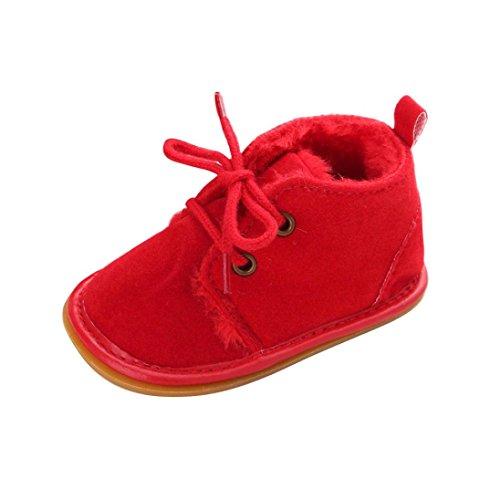 Ouneed® Rastejando Sapatos, 0-18 Meses Bebê, Criança, Neve Infantil Botas Sapatos Sola De Borracha Prewalker Manjedoura Vermelhas