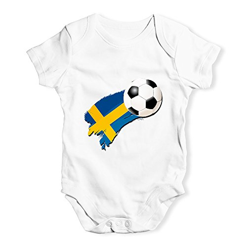 536081bd0 TWISTED ENVY Baby Grow Onesie Sweden Football Soccer Flag Paint Splat White  6-12 Months