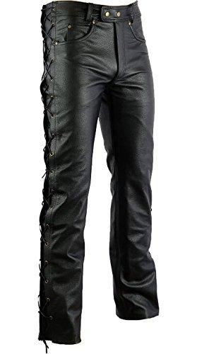 Bikerhose Motorrad Hose, Leder Motorradhose Herren (34)