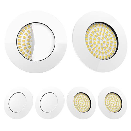LED Einbaustrahler 6er Set Weiß von Scandinavian home | LED Spot Deckeneinbauleuchte ultra flach Badezimmer geeignet | 5W 500lm 3000K warmweiß 60-68mm 220 / 230V A++ | rund | mit Milchglas