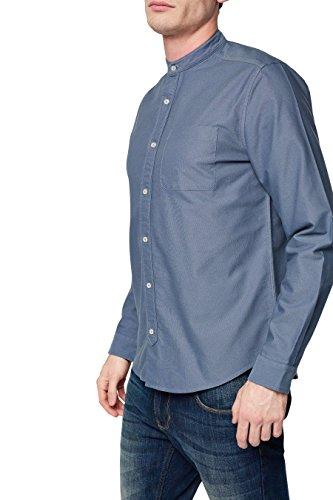 next Herren Langarm Grandad-Shirt Normale Passform Baumwolle Hemd Shirt Top Blau