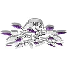 Lámpara de Techo con Brazos de Hoja Crystal Acrílico Blanco y Púrpura Para 3 Bombillas de E14