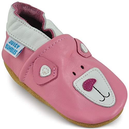 eb76e833df0a3 Juicy Bumbles Chaussures Bébé - Chaussons Bébé Cuir Souple - Ourson Rose  18-24 Mois