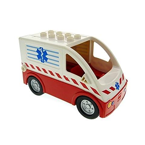 1 x Lego Duplo Transporter rot weiß Krankenwagen Auto Lastwagen 4979 Ambulance Ville 1406c01pb01