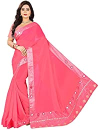 Riva Enterprise Saree's Georgette Mirror And Hand Work Bordered Pattern Pink Color Saree With Dhupion Blouse (...