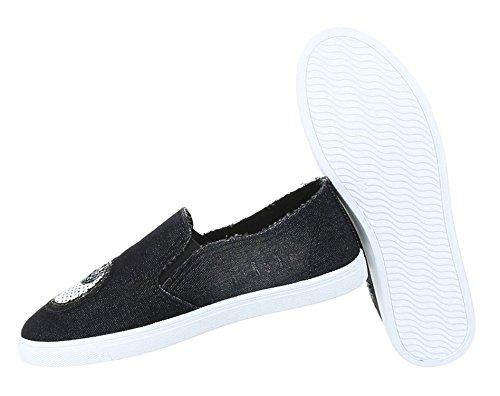 Schuhe Loafer Damen Slipper Halbschuhe Schwarz 5nnxaH