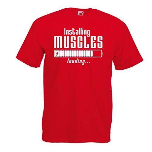 lepni.me Männer T-Shirt Muskelarbeit Kleidung - für Muskelaufbau Meister, Vintage Design, Fitness Kleidung (XX-Large Rot Weiß) (Mann-sport Iso Amino)