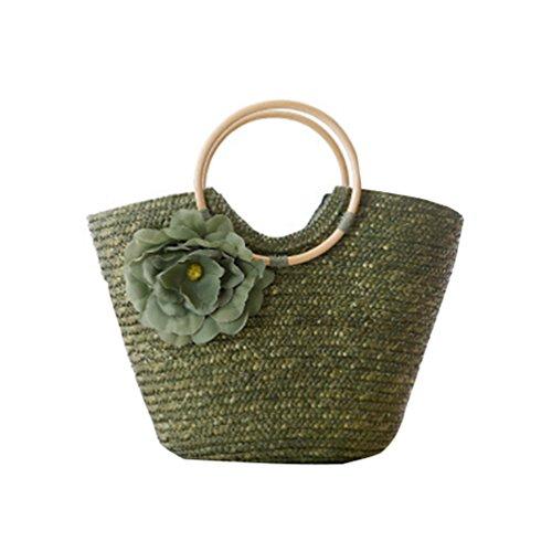 YOUJIA Donne Borsa Di Paglia Spiaggia Handbags Di Circolare Manico In Legno Tote Borse Esercito Verde