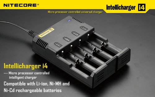 Nitecore Apollo23 i4 Chargeur Intelligent pour 4 Batteries cylindriques 18650 Li-ION/Ni-MH/Ni-CD