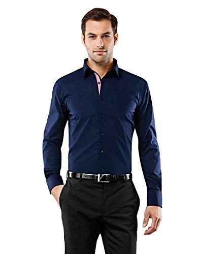 Vincenzo Boretti Herren-Hemd bügelfrei 100% Baumwolle Slim-fit tailliert Uni-Farben - Männer lang-arm Hemden für Anzug mit Krawatte Business Hochzeit Freizeit dunkelblau/weinrot 39/40