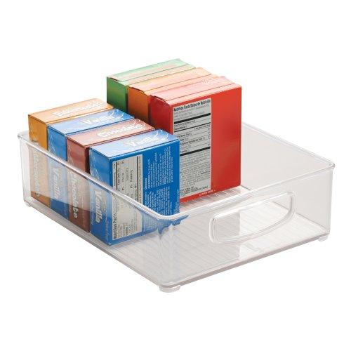 iDesign Aufbewahrungsbox für die Küche, großer Küchen Organizer aus Kunststoff, offene Kühlschrankbox mit Griffen, durchsichtig