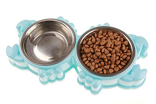 Jenny.Ben New pet Bowl, cat and Dog universal, pet Bowl, Double Bowl, Dog Food Bowl, Non-Slip and Durable@Turtle (Color Box)_Yellow -