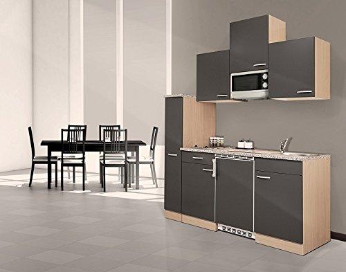 Respekta KB180BGMIC Bloc-cuisine en hêtre Gris 180 cm avec micro-ondes et plaques vitrocéramiques