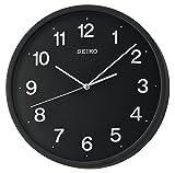 Seiko con lancetta dei secondi orologio da parete con numeri 3D, plastica, nero