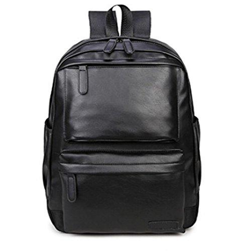 Mochila Vintage Bolso de viaje de cuero Camping Caminata Mochila Bolsa de hombro Bolsa para la escuela LMMVP (30cm*43*15cm, Negro)