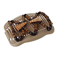 Suweqi Women Girl Easy Magic Wood Beads Double Hair Comb Clip Stretchy Hair Accessories