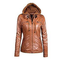 Mantel Damen Leder, Holeider Jacke Parka Reißverschluss Elegant Einfarbig Outwear Mit Kapuze, Frauen Sweatjacke Lederjacke Tops Lässig Sexy