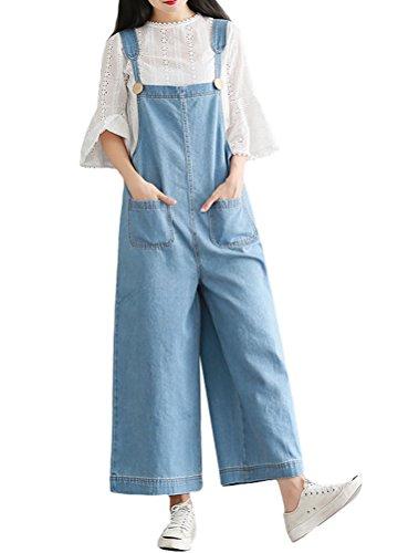 MatchLife Damen Breite Beine Hosen Loose Denim Jeans Jumpsuit Latzhose allgemeins Style4-Hellblau Fits Größe 40-46 - Capri Cropped-jeans