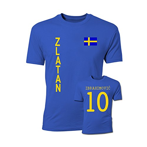 Zlatan Ibrahimovic Sweden Flag T-Shirt (Blue) (Adult T-shirt Flag)