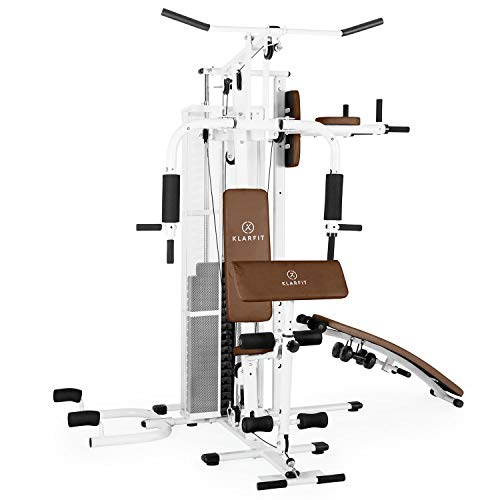 Klarfit Ultimate Gym 5000 - Heimtrainer, Trainingsstation, Kraftstation, multifunktionale Fitnessstation, für über 50 Übungen, Ganzkörpertraining, inkl. Gewichte, weiß