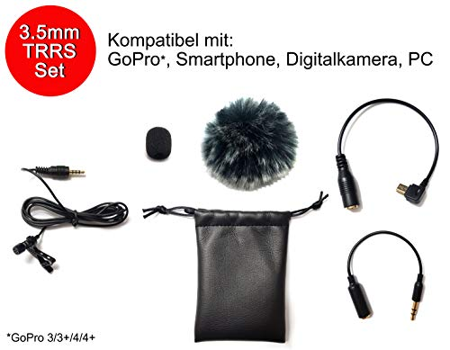 Professionelles 3,5mm Lavalier-Mikrofon KOMPLETT-Set mit Mini Fell Windschutz TRRS TRS Adapter - Gopro 3/3+/4/4+ Smartphone iPhone Android Tablet DSLR Actioncam Ansteckmikrofon - MIND CARE ESSENTIALS
