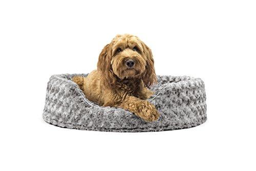 Furhaven Pet Nap Ovale Plüschmatte mit Bett für Hund Oder Katze, Large, Grau (Pet Nap Katzen)