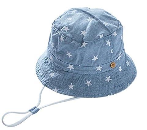 EOZY Chapeau de Soleil Plage Anti-UV Solaire pour Bébé/Enfant Outdoor Coton Bleu 2 3-5 ans