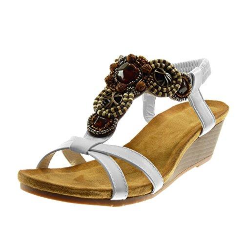 Angkorly - Scarpe Moda Sandali Mules con Cinturino alla Caviglia Slip-on Donna Gioielli Fantasia Cinghie Incrociate Tacco Zeppa 5 CM - Bianco 333-12 T 37