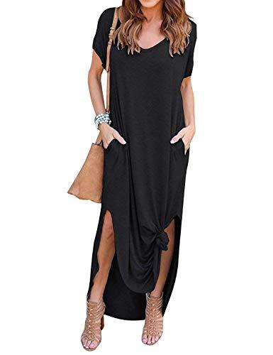Damen Kleid Lässig Strand Elegant Kurzarm Freizeit Kleider V-Ausschnitt Urlaub Lose Abend Lang Kleid Maxi Kleider (Schwarz, XL)