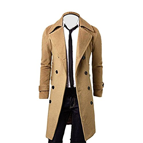 YYF Herrenmantel Lang Herbst Winterjacke Slim Fit warm Mantel Trenchcoat Outfit
