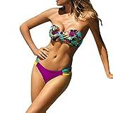 Bikini Sannysis Frauen Bikini Set Bedruckte Hohe Taille Badeanzug Bademode Beachwear Push up Gepolstert Bustier Zweiteilig Sommer Sportliches Bademode Strand Bikini (M, Lila)