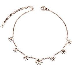 rostfreiem Stahl fabelhafte Fusskettchen Blumen Karabiner Spangen Damen Fashion Geschenk