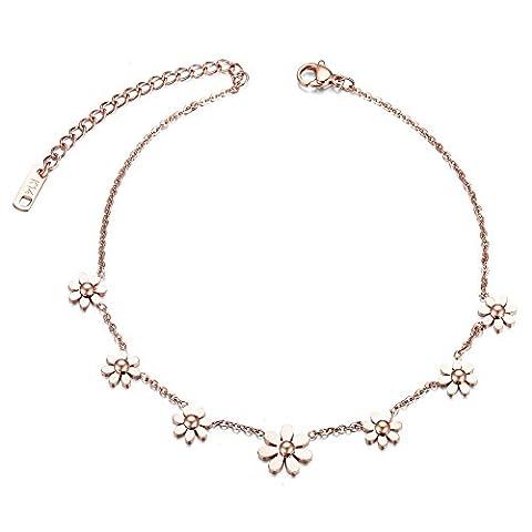 SWEETIEE - Bracelet de Cheville réglable en Acier Inoxydable ,ornement des petite fleurs jolies Marguerite, Or Rose, 240mm (avec chaine