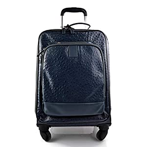 Leder reisekoffer troller blau leder reisetasche manner damen mit griff leder tasche reise tasche sporttasche mit 4 rollen pilot tasche
