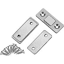 2Pcs cerradura de captura de puerta ultra fino captura magnética fuerte con tornillos para muebles de