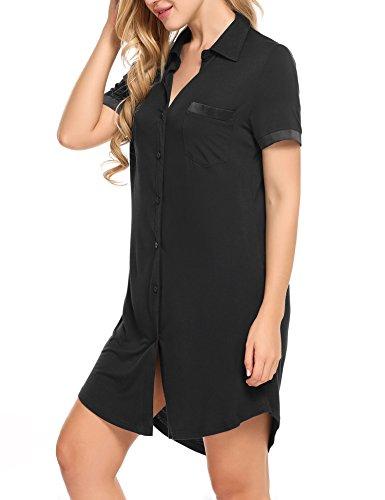 Avidlove Damen Viktorianisch Nachthemd T-shirt Luxus Nachtwäsche Lange Hülsen Kurzarm 1: Schwarz