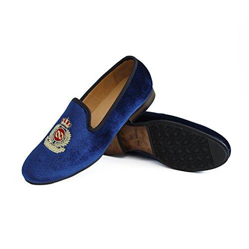 Veste en velours vintage Flâneur hommes broderie Noble Hommes Chaussures à enfiler Flâneur fumer Chaussons Noir/Bleu Blau Kaiserkrone