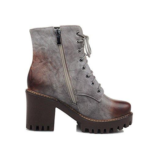 AllhqFashion Damen Rein Quadratisch Zehe Weiches Material Reißverschluss Stiefel, Braun, 41