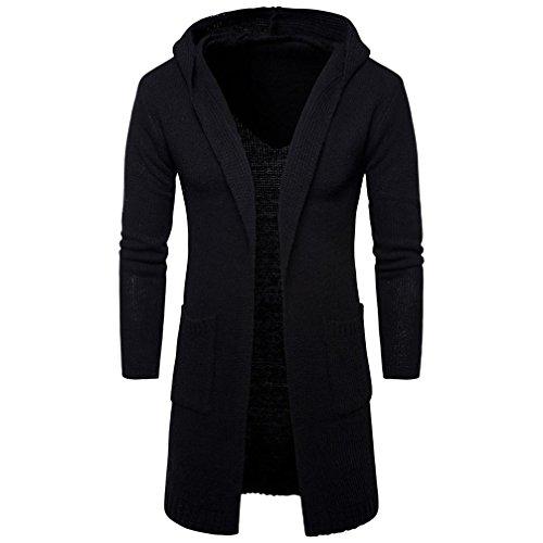 Herren Lange Trenchcoat Mode Slim Fit Kapuze Stricken Pullover Cardigan Jacke Herbst Winter By Dragon (Schwarz, L)