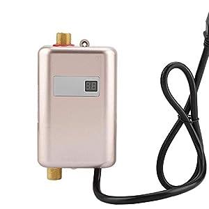 HSDCK Calentador de Agua sin Tanque Mini eléctrico instantáneo Calentador de Agua Caliente, con Pantalla LCD para el Lavado Principal Baño Cocina,Oro,USPlug110V