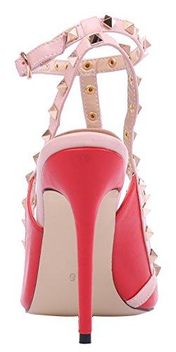MONICOCO oversize candy boucle t-spangen creux couleurs de chaussures en cuir verni escarpins avec rivets Rot Pu