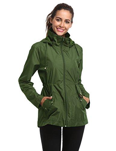Blivener Damen Übergangsjacke Regenjacke Kapuzenjacke Anorak Windbreaker Wasserdicht Jacke Herbst Jacket Grün M