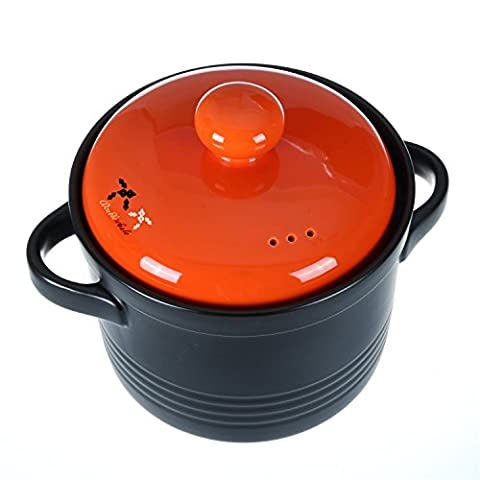 Ceramic Casserole Soup Pots Fire 600 Degrees High Temperature Hot Pot Healthy Colorful Casseroles Dish Stockpots Stew Pot Porridge Clay Pot Sand Pot (2-1/5 Quarts,Red)