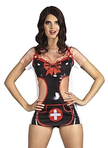 Halloweenia - Damen Tshirt mit Krankenschwester Aufdruck, Schwarz, Größe XS (Krankenschwestern Pflege T-shirt)