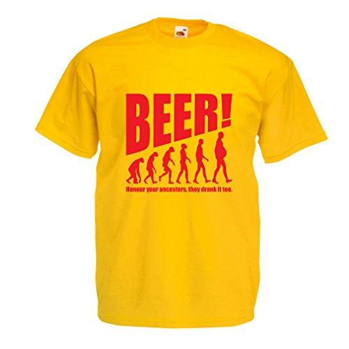lepni.me Camisetas Hombre The Beervolution - Ideas Divertidas únicas sarcásticas del Regalo para los Amantes de la Cerveza, evolución de consumición (Small Amarillo Rojo)
