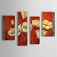 BL dipinti a mano olio pittura botanica fiore fiori con telaio allungato set di 4 1307-fl0163