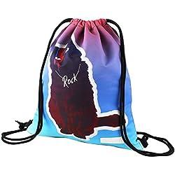True Holiday - Mochila Impermeable con cordón para niñas, Gimnasio, Deportes, Viajes, natación, Escuela, Gato
