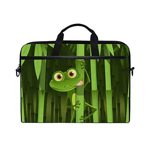 Bambus-stoff-handtaschen (Ahomy 14 Zoll Laptoptasche grün neugieriger Frosch Bambus Canvas Stoff Laptop Tasche Bussiness Handtasche mit Schultergurt für Damen und Herren)